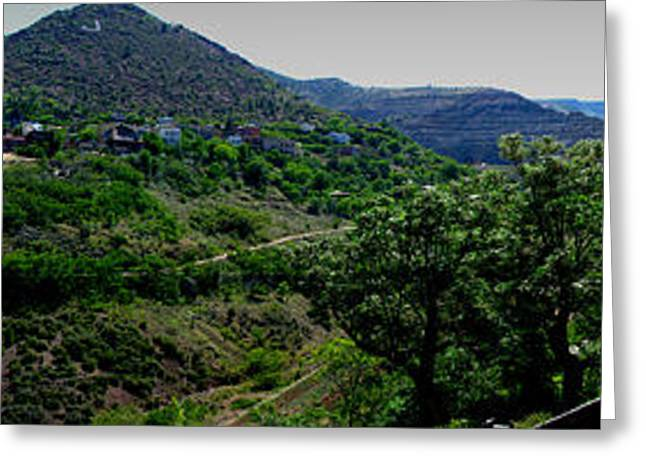 Prescott Greeting Cards - Jerome from the Museum Panoramic Greeting Card by Aaron Burrows
