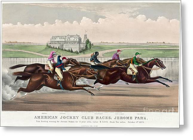 Race Horse Greeting Cards - Jerome Park Horse Race, 1873 Greeting Card by Granger
