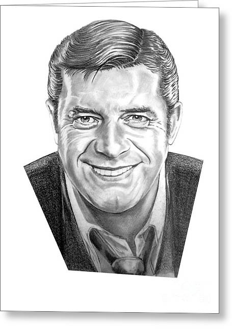 Pencil Drawing Greeting Cards - Jerry Lewis Greeting Card by Murphy Elliott