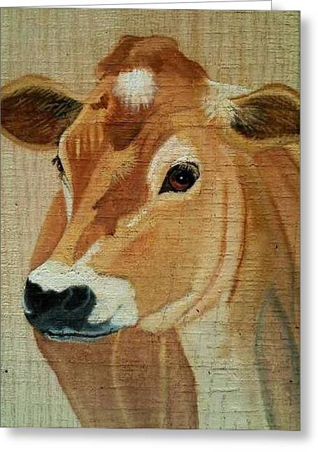 Jersey Cow Greeting Cards - Jersey Greeting Card by Debbie LaFrance