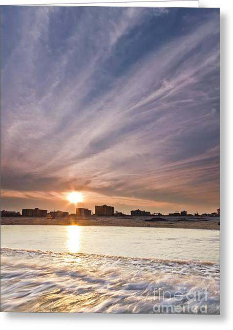 Wildwood Greeting Cards - Jersey Shore Wildwood Crest Sunset Greeting Card by Dustin K Ryan