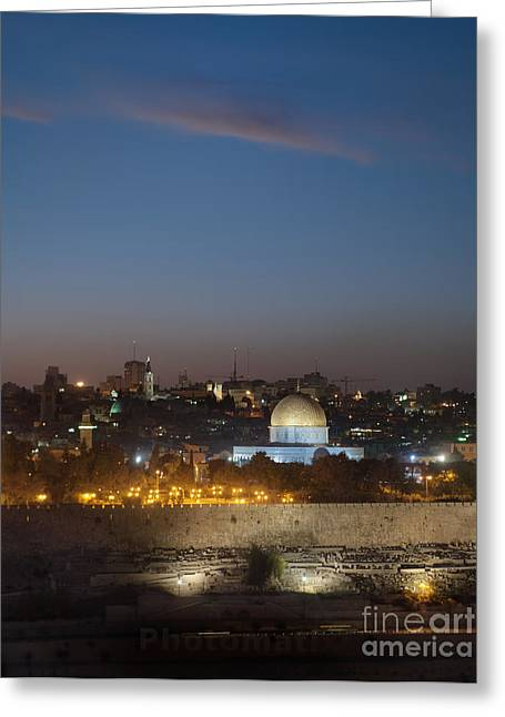 Desert Dome Greeting Cards - Jerusalem And The Dome Of The Rock Greeting Card by Noam Armonn