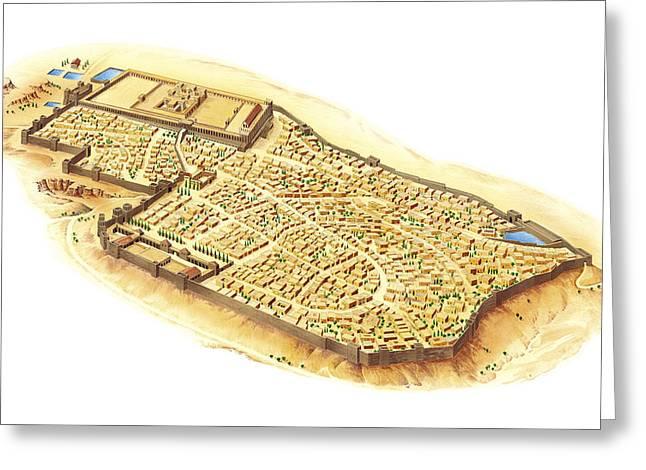 Judea Greeting Cards - Jerusalem At The Time Of King Herod Greeting Card by Gary Hincks