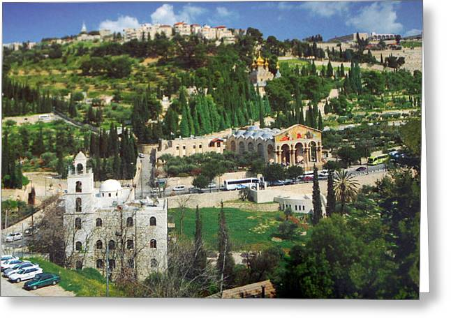 Mount Olives Greeting Cards - Jerusalem Mount of Olives Greeting Card by Munir Alawi