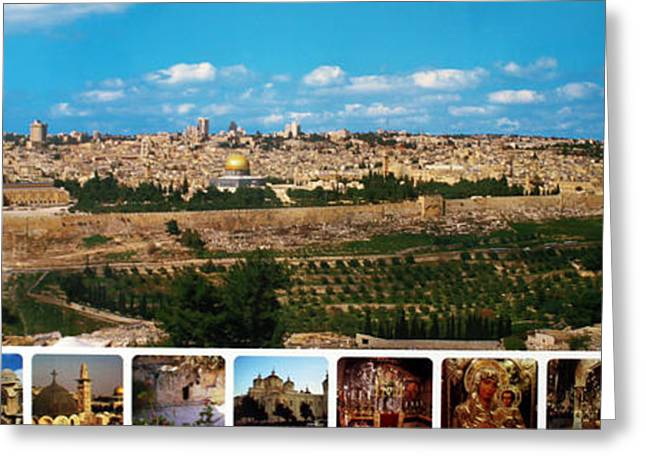 Bible Greeting Cards - Jerusalem Poster Greeting Card by Munir Alawi