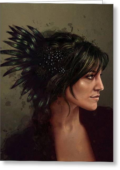 American Indian Portrait Greeting Cards - Jessamy Greeting Card by Fay Helfer