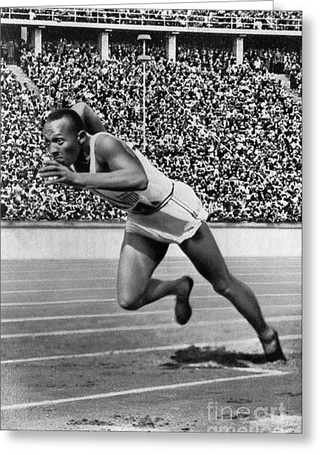 Footrace Greeting Cards - Jesse Owens (1913-1980) Greeting Card by Granger