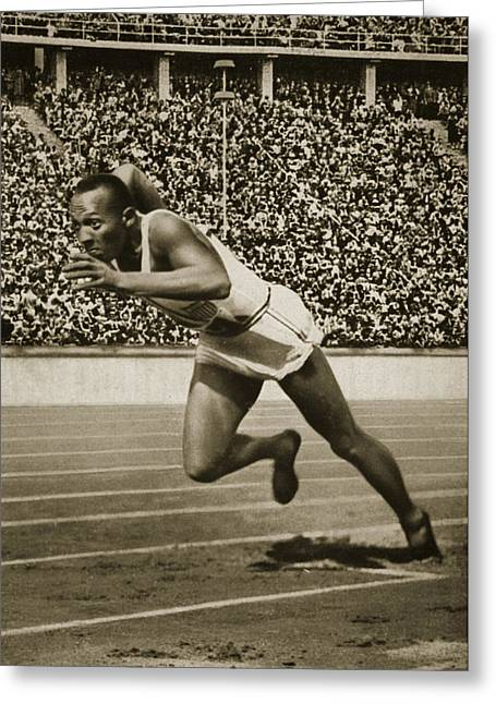 Runner Greeting Cards - Jesse Owens Greeting Card by American School