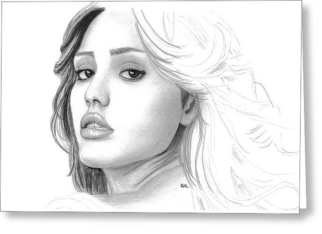 Pencil Drawing Greeting Cards - Jessica Alba Greeting Card by Gil Fong