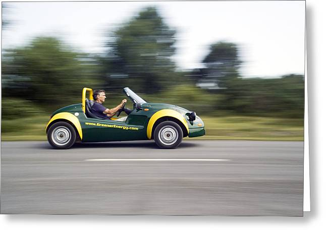 Jester Greeting Cards - Jester Electric Car Greeting Card by Paul Rapson