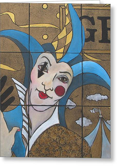 Pulled Print Greeting Cards - Jester In Blue Greeting Card by Susanne Clark