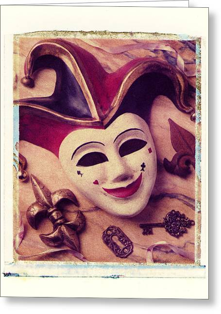 Polaroid Transfer Greeting Cards - Jester mask Greeting Card by Garry Gay