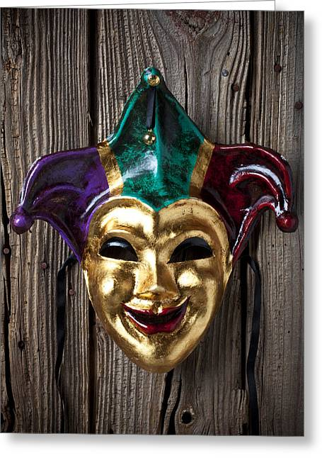 Jesters Greeting Cards - Jester mask hanging on wooden wall Greeting Card by Garry Gay