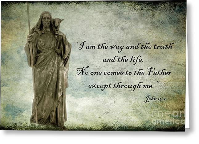 Bible Scripture Prints Greeting Cards - Jesus - Christian Art - Religious Statue of Jesus - Bible Quote Greeting Card by Kathy Fornal