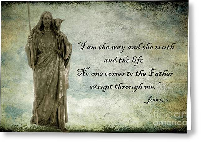 Jesus - Christian Art - Religious Statue Of Jesus - Bible Quote Greeting Card by Kathy Fornal