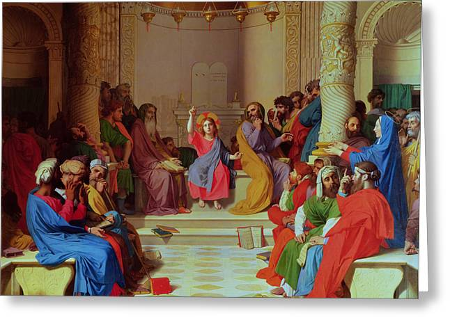 1867 Greeting Cards - Jesus Among the Doctors Greeting Card by Ingres