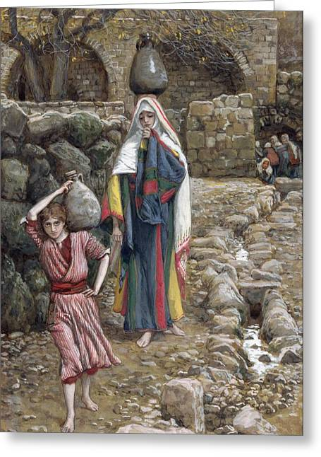 Water Jug Greeting Cards - Jesus and His Mother at the Fountain Greeting Card by Tissot