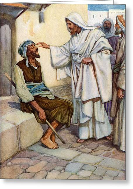 Lamb Of God Greeting Cards - Jesus and the Blind Man Greeting Card by Arthur A Dixon