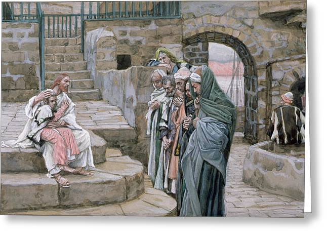 Tissot; James Jacques Joseph (1836-1902) Greeting Cards - Jesus and the Little Child Greeting Card by Tissot