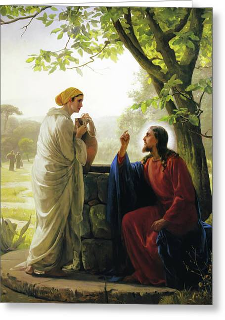 Print Greeting Cards - Jesus and the Samaritan Woman Greeting Card by Carl Bloch
