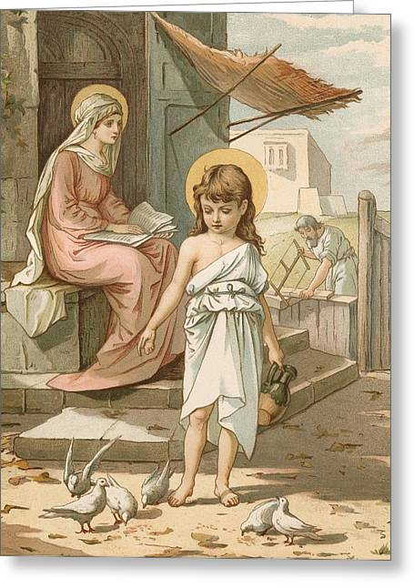 Jesus With A Child Greeting Cards - Jesus as a Boy Playing with Doves Greeting Card by John Lawson
