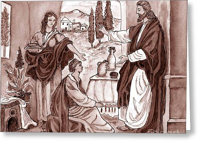 Jesus work Drawings Greeting Cards - Jesus at the House of Mary and Martha Greeting Card by Norma Boeckler