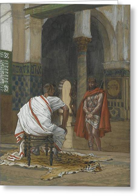 Governor Greeting Cards - Jesus Before Pilate Greeting Card by Tissot
