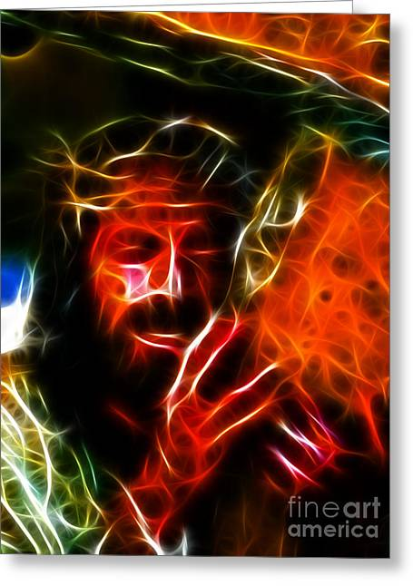 Jesus Thorns Greeting Cards - Jesus Carrying The Cross No2 Greeting Card by Pamela Johnson