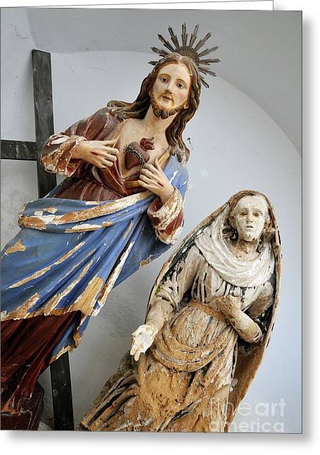 Crucifix Art Greeting Cards - Jesus Christ and Saint statues in church Greeting Card by Sami Sarkis