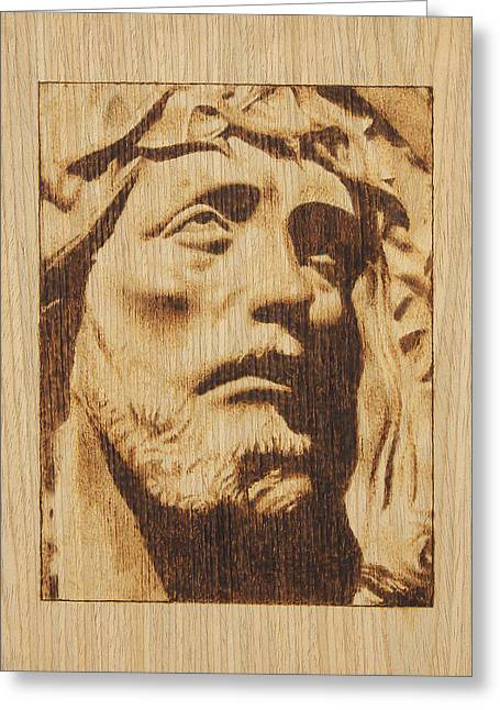 Christ Pyrography Greeting Cards - Jesus Christ Greeting Card by Conrad  Pinto
