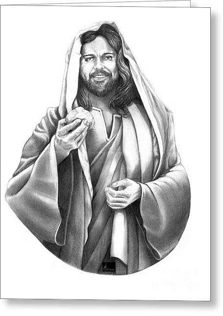 Son Of God Drawings Greeting Cards - Jesus Christ Greeting Card by Murphy Elliott