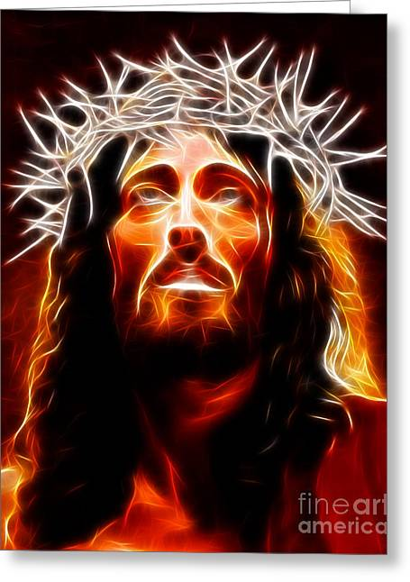 Calvary Mixed Media Greeting Cards - Jesus Christ Our Savior Greeting Card by Pamela Johnson