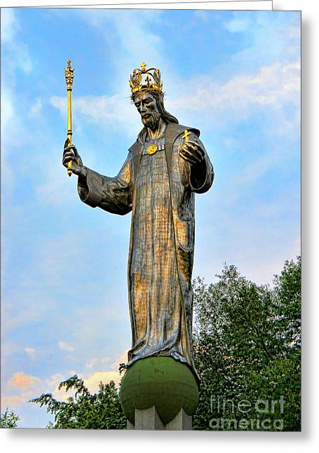 The Sun God Greeting Cards - Jesus Christ Statue Greeting Card by Mariola Bitner