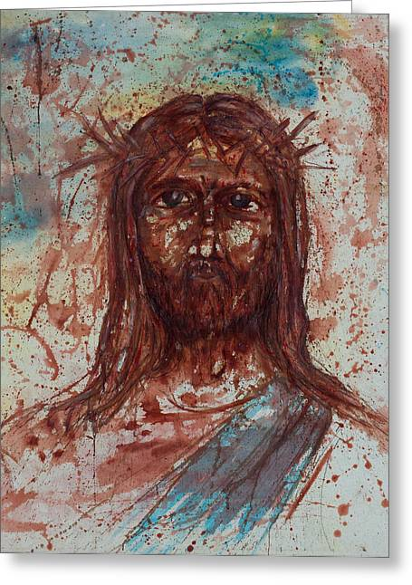 Statue Portrait Paintings Greeting Cards - Jesus Christ Greeting Card by Thomas Lentz