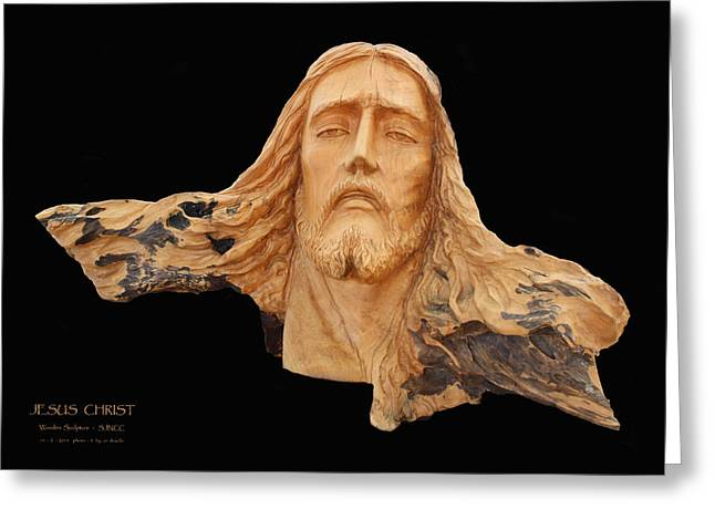 Christ Pyrography Greeting Cards - Jesus Christ Wooden Sculpture -  Four Greeting Card by Carl Deaville