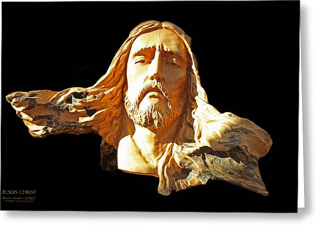 Jesus Christ Wooden Sculpture - One Greeting Card by Carl Deaville