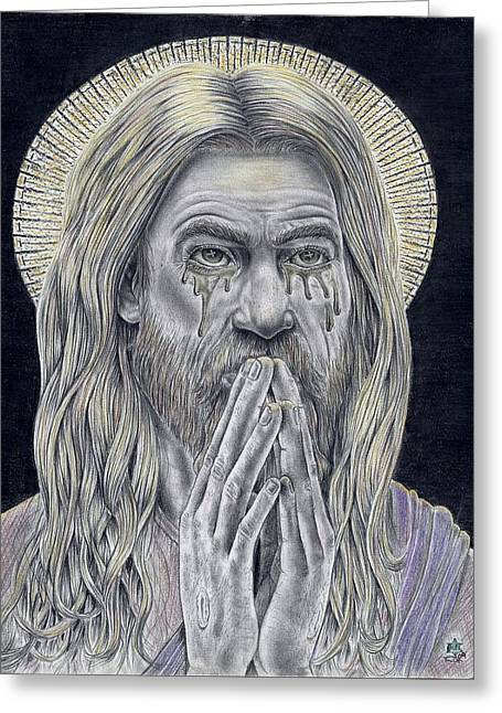 Jesus Crying For Us Greeting Card by Vincnt Clark