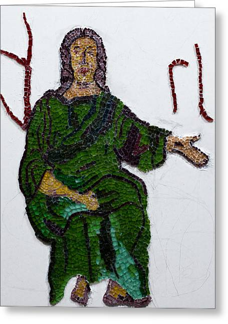 Jesus Glass Art Greeting Cards - Jesus Greeting Card by Emma Kinani