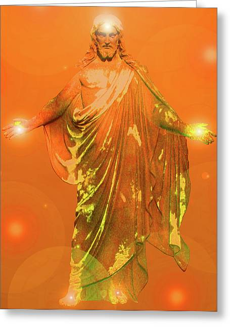 Svadhisthana Greeting Cards - Jesus-Energy No. 01 Greeting Card by Ramon Labusch