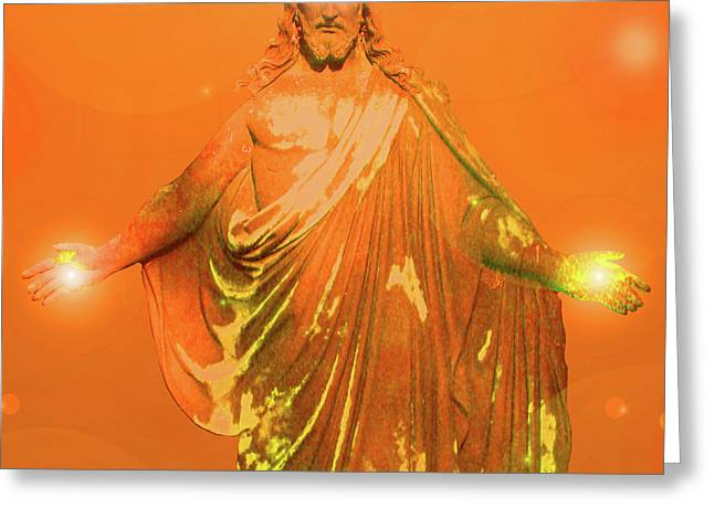 Svadhisthana Greeting Cards - Jesus-Energy No. 02 Greeting Card by Ramon Labusch