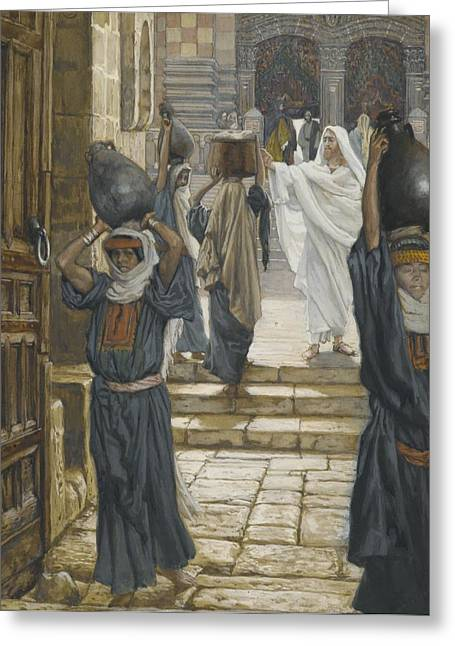 Tissot Greeting Cards - Jesus Forbids the Carrying of Loads in the Forecourt of the Temple Greeting Card by Tissot