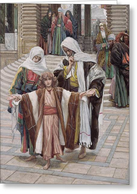 Orthodox Greeting Cards - Jesus Found in the Temple Greeting Card by Tissot