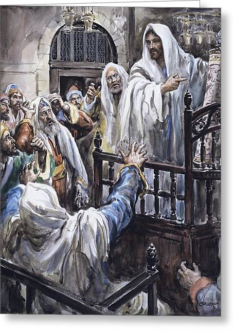 Bible. Biblical Greeting Cards - Jesus  Greeting Card by Henry Coller
