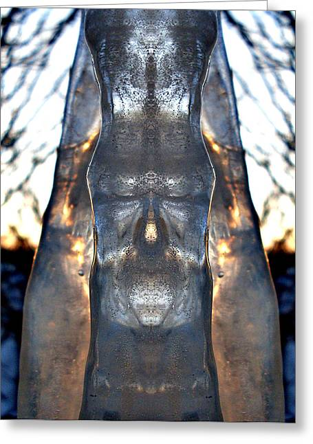 Wyoming Greeting Cards - Jesus in an icicle Greeting Card by Wesley Hahn
