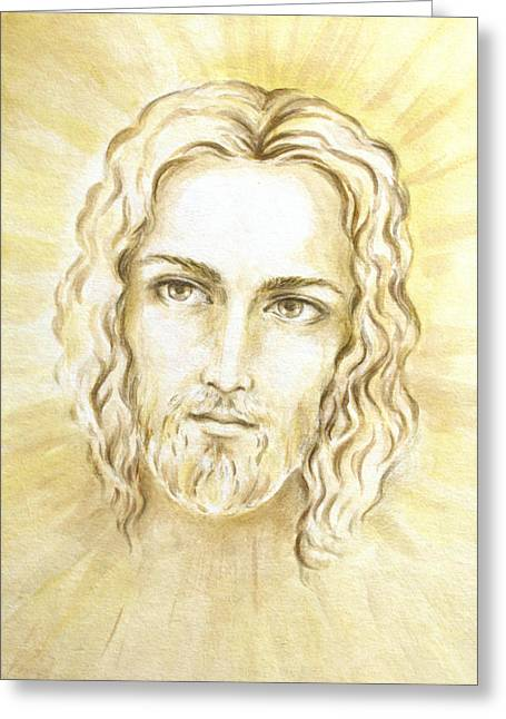 Jesus Greeting Cards - Jesus in Light Greeting Card by Stoyanka Ivanova