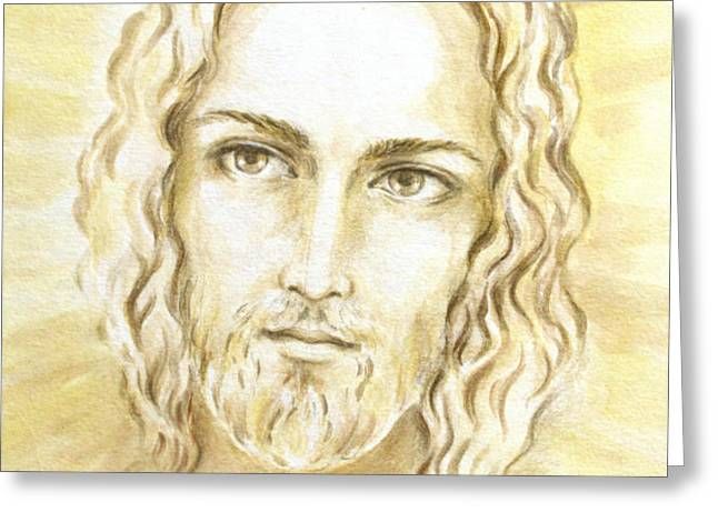 Jesus in Light Greeting Card by Stoyanka Ivanova