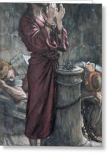 Prisoner Paintings Greeting Cards - Jesus in Prison Greeting Card by Tissot