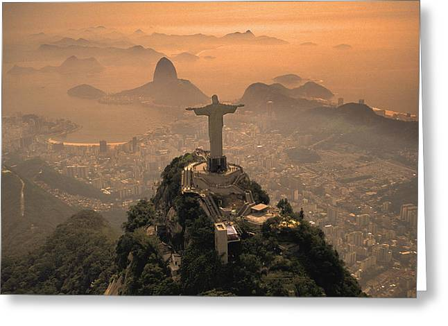 Jesus in Rio Greeting Card by Christian Heeb