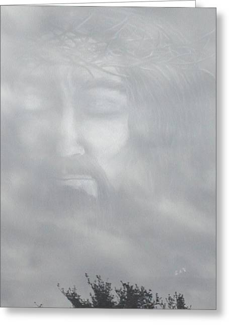 Jesus Mixed Media Greeting Cards - Jesus in the clouds Greeting Card by Elaine Read-Cole