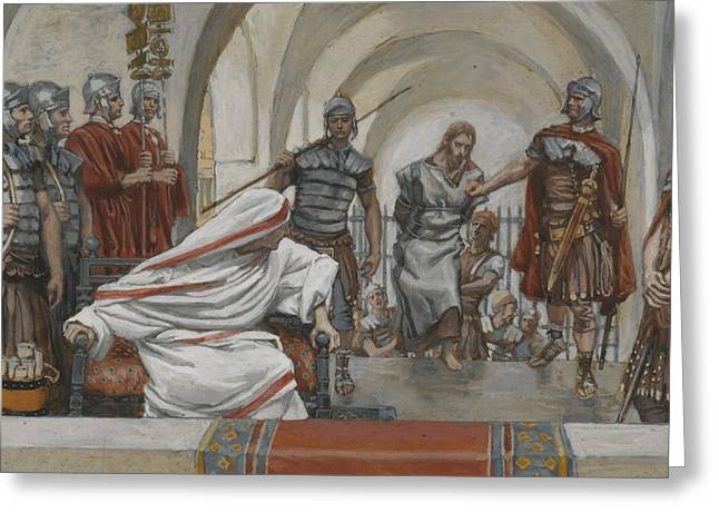 Prisoner Paintings Greeting Cards - Jesus Led from Herod to Pilate Greeting Card by Tissot